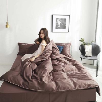2019新款-60长绒棉素色刺绣+滚绳四件套 床单款四件套1.8m(6英尺)床 咖啡金