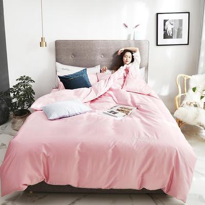2019新款-60长绒棉素色刺绣+滚绳四件套 床单款四件套1.8m(6英尺)床 奶油粉
