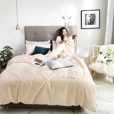 2019新款-60长绒棉素色刺绣+滚绳四件套 床单款四件套1.8m(6英尺)床 奶油黄