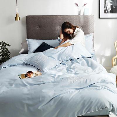 2019新款-60长绒棉素色刺绣+滚绳四件套 床单款四件套1.8m(6英尺)床 天空蓝