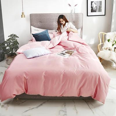 2019新款-60长绒棉素色刺绣+滚绳四件套 床单款四件套1.8m(6英尺)床 樱花粉