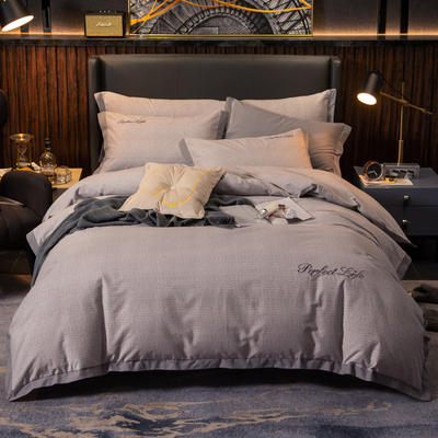 2019新款-加厚肌理纹磨毛四件套 床单款1.8m(6英尺)床 潮派-灰