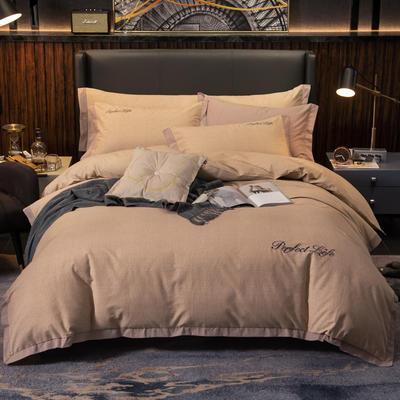 2019新款-加厚肌理纹磨毛四件套 床单款1.8m(6英尺)床 潮派-咖
