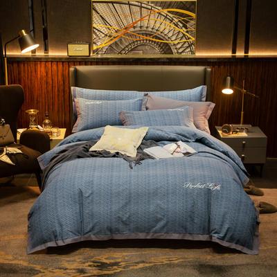 2019新款-加厚肌理纹磨毛四件套 床单款1.8m(6英尺)床 迷乱-兰