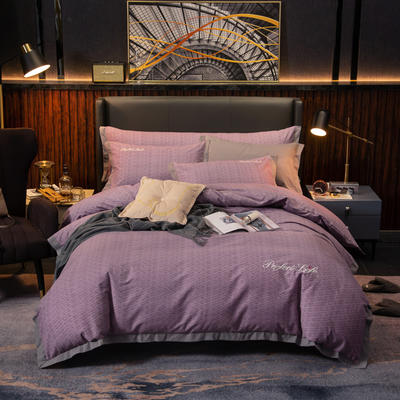 2019新款-加厚肌理纹磨毛四件套 床单款1.8m(6英尺)床 迷乱-紫