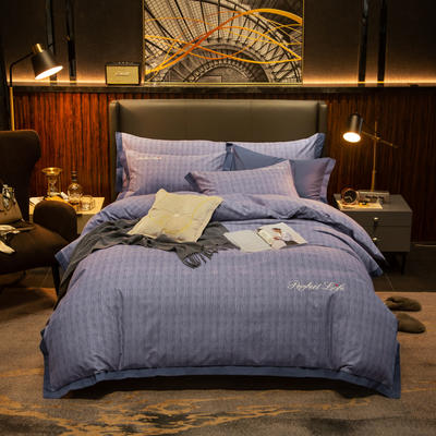 2019新款-加厚肌理纹磨毛四件套 床单款1.8m(6英尺)床 雅顿-紫