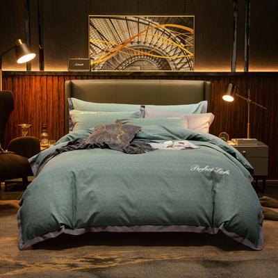2019新款-加厚肌理纹磨毛四件套 床单款1.8m(6英尺)床 叶香-绿
