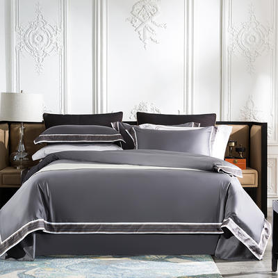 2019新款-60长绒棉宽边数码印花四件套 床单款2.0m(6.6英尺)床 麦琳纳--伯爵灰