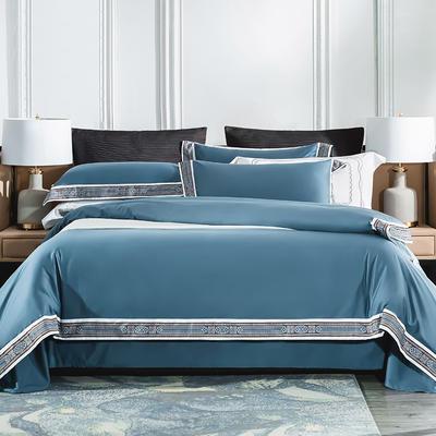2019新款-60长绒棉宽边数码印花四件套 床单款2.0m(6.6英尺)床 麦琳纳--爵士蓝
