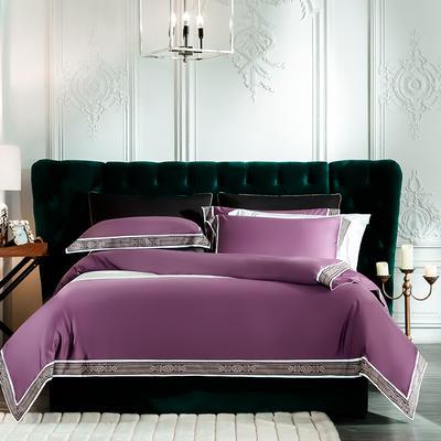 2019新款-60长绒棉宽边数码印花四件套 床单款2.0m(6.6英尺)床 麦琳纳--梦幻紫