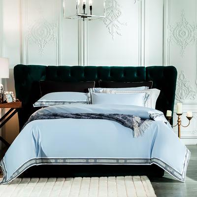2019新款-60长绒棉宽边数码印花四件套 床单款2.0m(6.6英尺)床 麦琳纳--清蓝