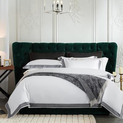 2019新款-60长绒棉宽边数码印花四件套 床单款2.0m(6.6英尺)床 麦琳纳--奢华白