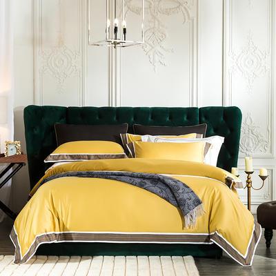 2019新款-60长绒棉宽边数码印花四件套 床单款2.0m(6.6英尺)床 麦琳纳--小资黄