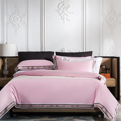 2019新款-60长绒棉宽边数码印花四件套 床单款2.0m(6.6英尺)床 麦琳纳--优雅粉