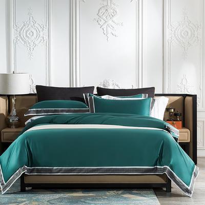 2019新款-60长绒棉宽边数码印花四件套 床单款2.0m(6.6英尺)床 麦琳纳--祖母绿