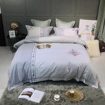 2019新款-肌理磨毛双色刺绣四件套 床单款2.0m(6.6英尺)床 布拉格-银灰