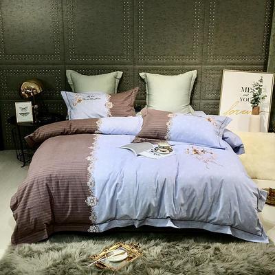 2019新款-肌理磨毛双色刺绣四件套 床单款2.0m(6.6英尺)床 玛格丽特-蓝