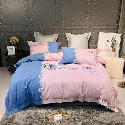 2019新款-肌理磨毛双色刺绣四件套 床单款2.0m(6.6英尺)床 玛格丽特-玉
