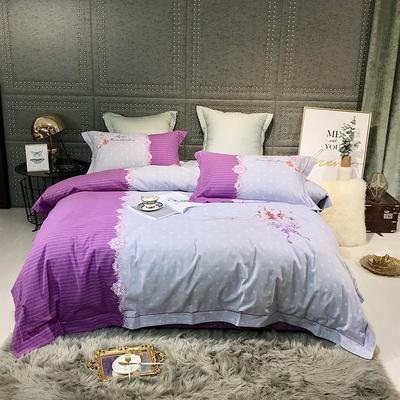 2019新款-肌理磨毛双色刺绣四件套 床单款2.0m(6.6英尺)床 玛格丽特-紫