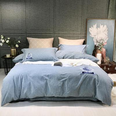 2019新款-肌理磨毛四件套【印加绣】 床单款1.8m(6英尺)床 帆船-绿