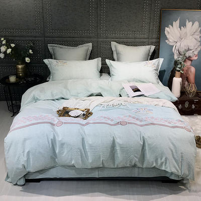 2019新款-肌理磨毛四件套【印加绣】 床单款1.8m(6英尺)床 麦穗-浅绿