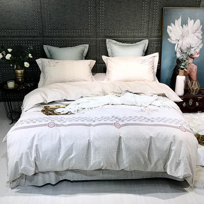 2019新款-肌理磨毛四件套【印加绣】 床单款1.8m(6英尺)床 麦穗-驼色
