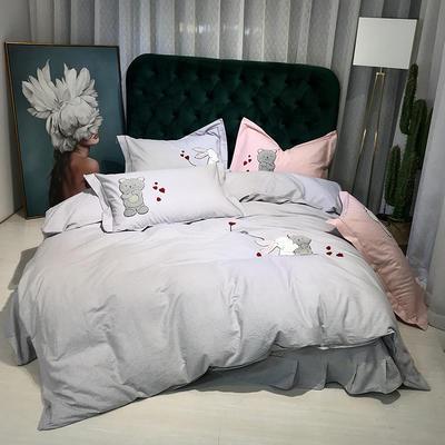 2019新款-肌理磨毛四件套【印加绣】 床单款1.8m(6英尺)床 梦想未来-银灰