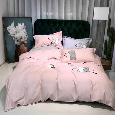 2019新款-肌理磨毛四件套【印加绣】 床单款1.8m(6英尺)床 梦想未来-玉色