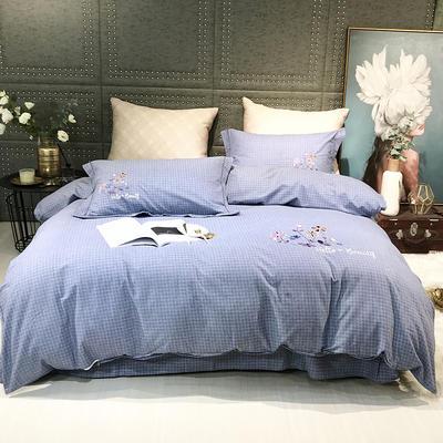 2019新款-肌理磨毛四件套【印加绣】 床单款1.8m(6英尺)床 千鸟格-蓝