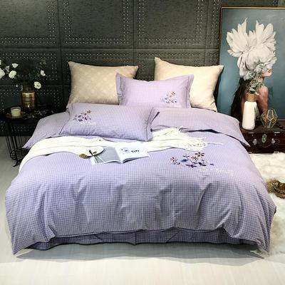 2019新款-肌理磨毛四件套【印加绣】 床单款1.8m(6英尺)床 千鸟格-浅紫
