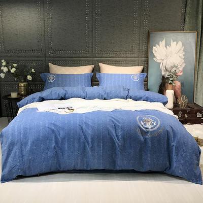2019新款-肌理磨毛四件套【印加绣】 床单款1.8m(6英尺)床 瑞拉-蓝