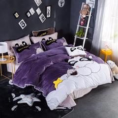 2018新款宝宝绒四件套 1.8m(6英尺)床 萌panda(紫)