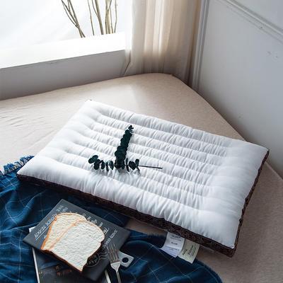 2018新款8道超薄刺绣低枕枕头枕芯 48*74 刺绣低枕-红