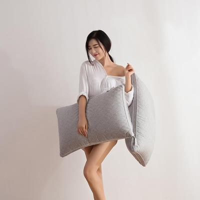 2018新款彩棉枕芯  48*74 彩棉立体羽丝绒枕(灰)
