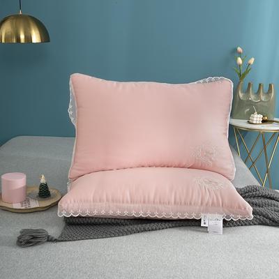 2020新款蜂语花溪羽丝绒枕头枕芯 48*74cm粉色