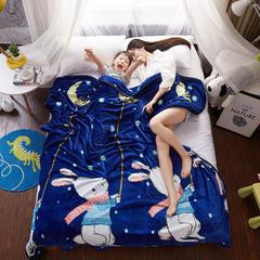 单层系列  法莱绒毛毯珊瑚绒毯子秋冬季午睡空调加厚保暖 1.2x2.0cm 兔子揽月