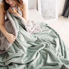 独家6斤双色加厚高品质牛奶绒贝贝绒毛毯 暖暖家纺 150cmX200cm 豆绿+灰