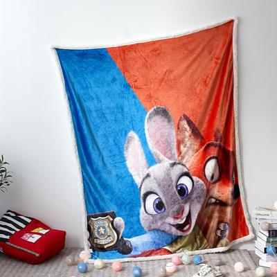 法兰绒拉毛数码印花+羊羔绒毯 1.2m*1.5 1