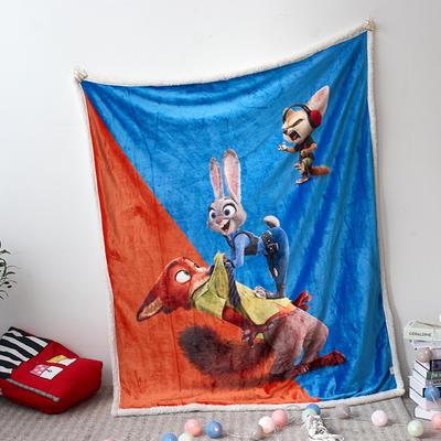 法兰绒拉毛数码印花+羊羔绒毯 1.2m*1.5 4