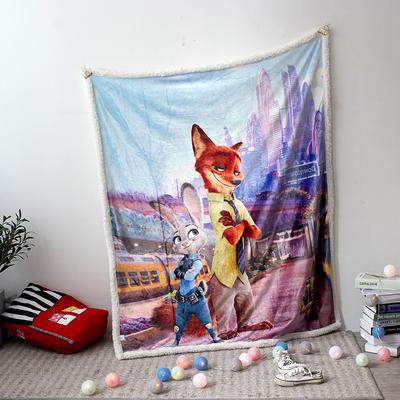 法兰绒拉毛数码印花+羊羔绒毯 1.2m*1.5 6