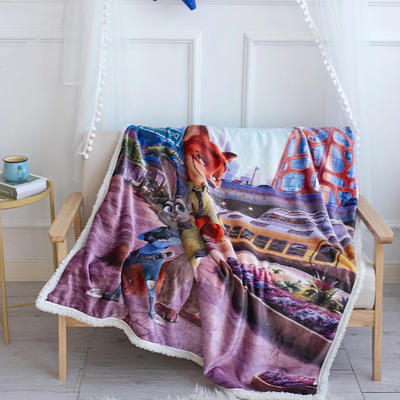 法兰绒拉毛数码印花+羊羔绒毯 1.2m*1.5 7