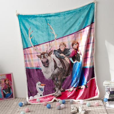 法兰绒拉毛数码印花+羊羔绒毯 1.2m*1.5 18