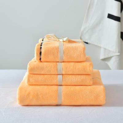 新款超轻薄超吸水毛巾四件套 橙黄