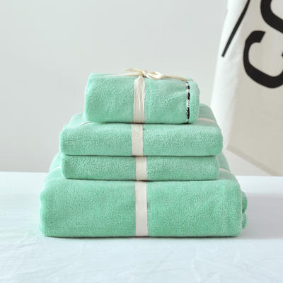 新款超轻薄超吸水毛巾四件套 绿