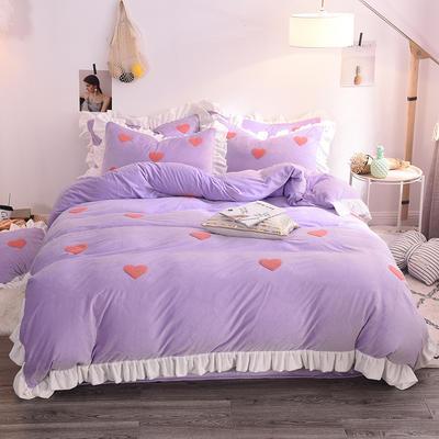 2020新款-宝宝绒水晶绒毛巾绣四件套 2.0m床(床单款) 甜心水紫