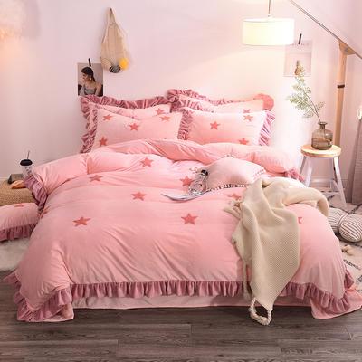 2020新款-宝宝绒水晶绒毛巾绣四件套 2.0m床(床单款) 星空粉玉