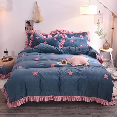 2020新款-宝宝绒水晶绒毛巾绣四件套 2.0m床(床单款) 星空蓝