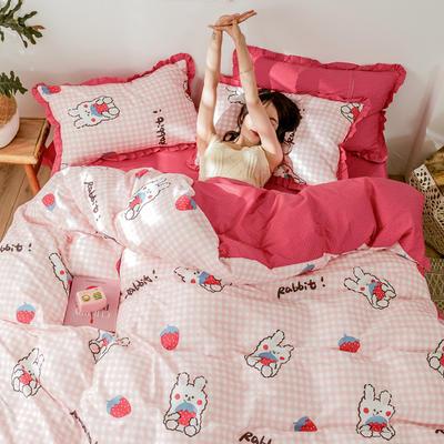 2020新品  双层荷叶花边 全棉印花四件套 1.5m床单款四件套 草莓兔