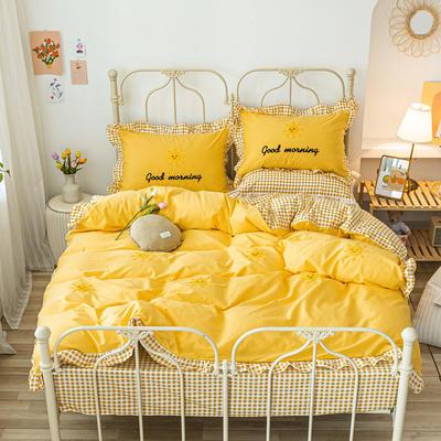 2020新款全棉荷叶边毛巾绣床单款四件套 1.8m床单款四件套 太阳花 黄