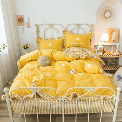 2020新款全棉荷叶边毛巾绣床单款四件套 1.8m床单款四件套 小雏菊 黄
